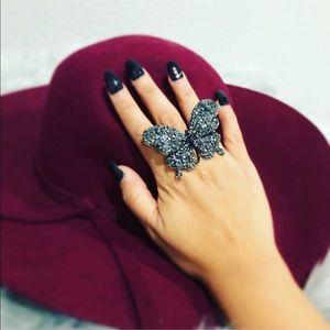 BLACK RHINESTONE Butterfly 🦋  Sturdy Ring ❤️❤️